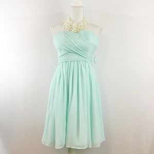 TEVOLIO STRAPLESS TEAL PARTY DRESS